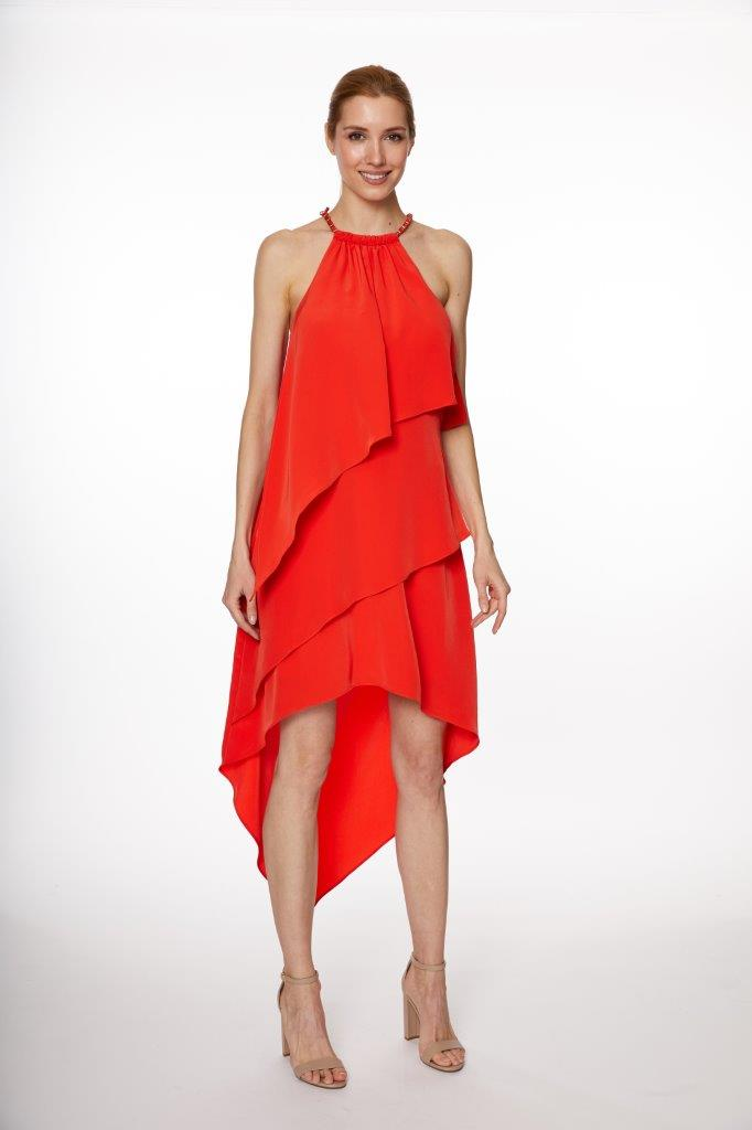 Chain Neck Tiered Hi/Lo Dress - Misses -Poppy Red - Front