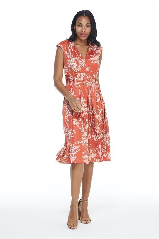 Ginger Floral Dress -Terracotta - Front