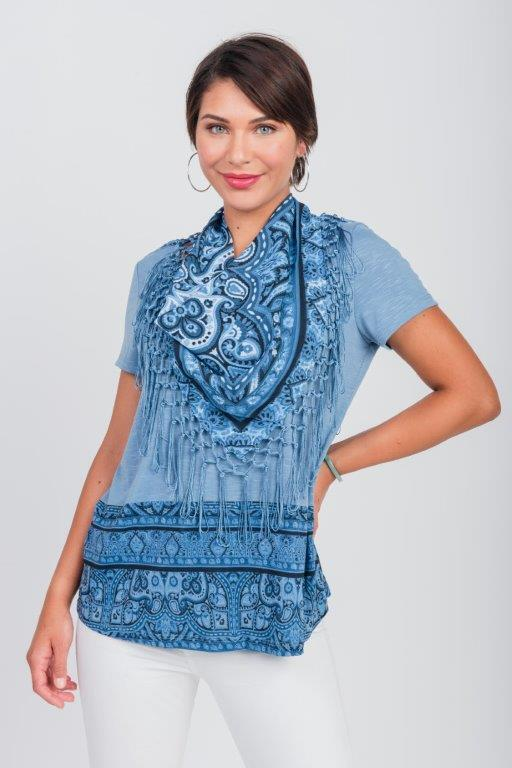Pacific Encounter Knit Tee & Matching Scarf - Misses -Blue - Front