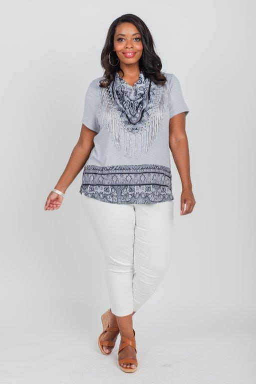 Yarrow Encounter Knit Tee & Matching Scarf - Plus -Grey - Front