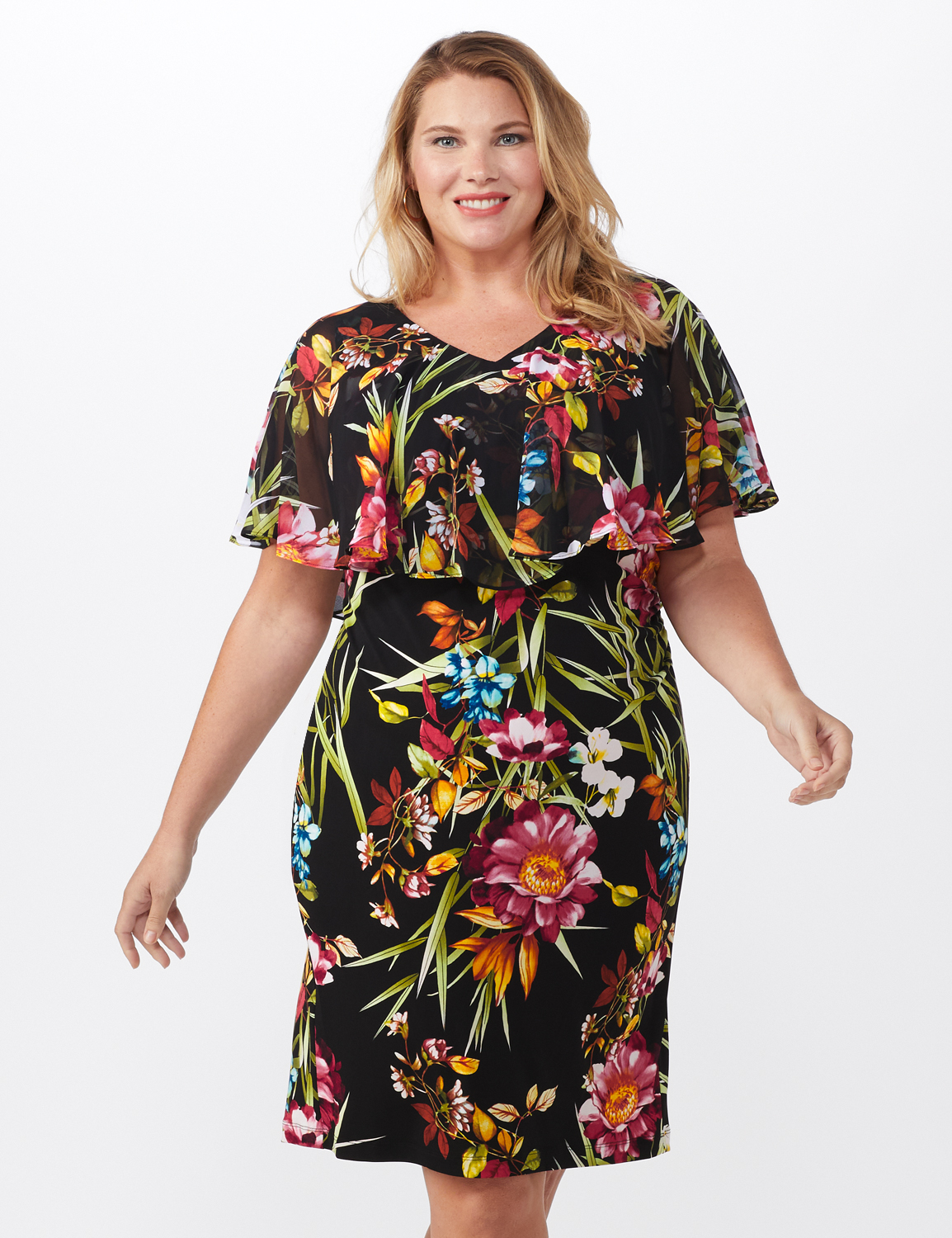 Amy Tropical Floral Dress - Plus -Black - Front