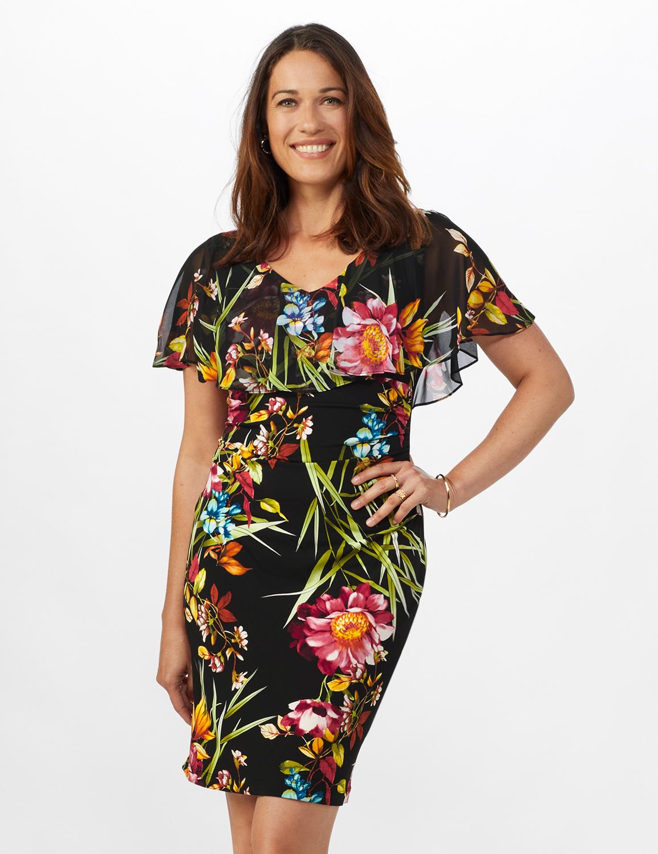 Amy Tropical Floral Dress - Misses - Black - Front