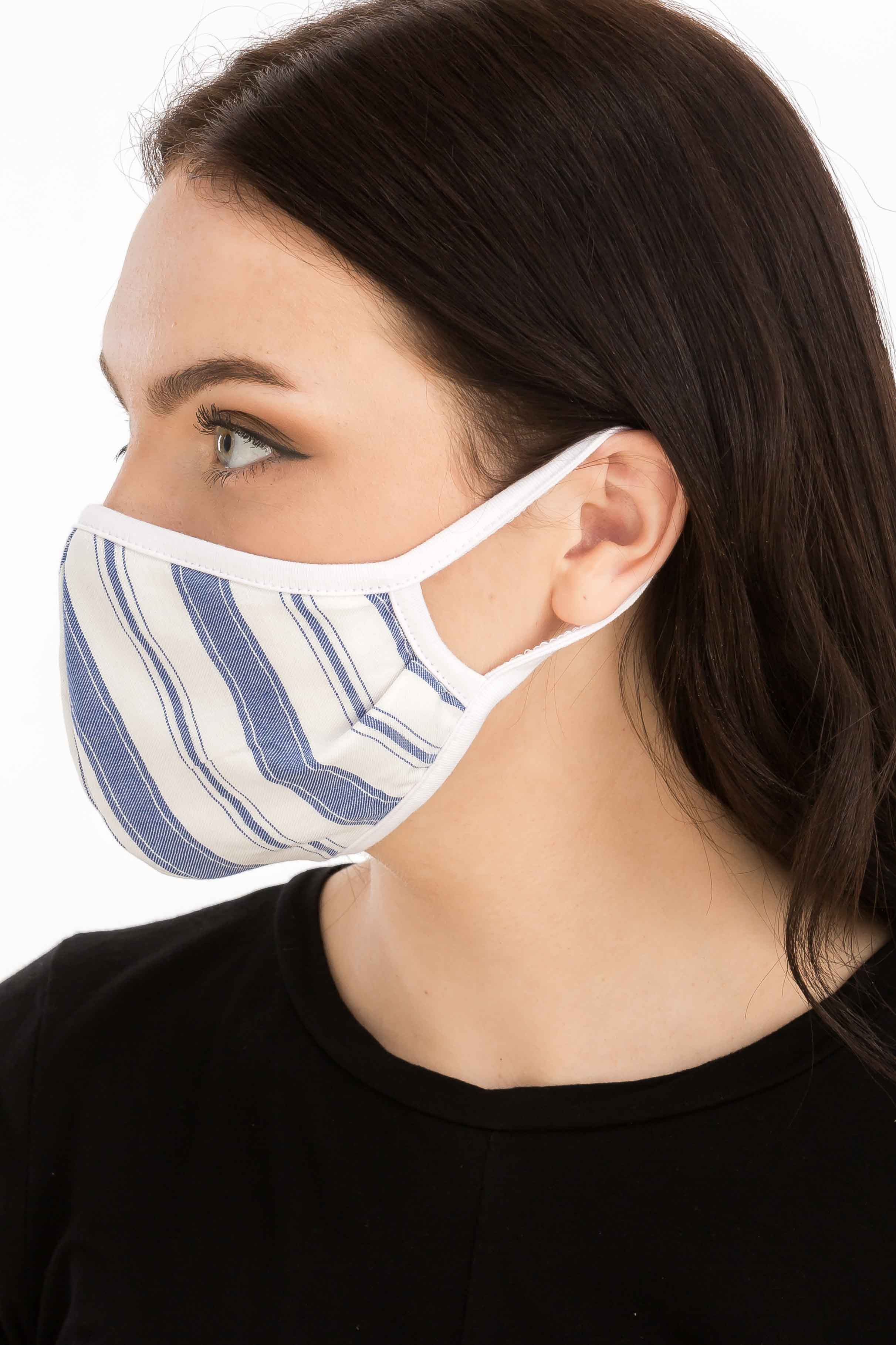 Retro Inspired Stripe Fashion Face Mask - BLue/White - Front