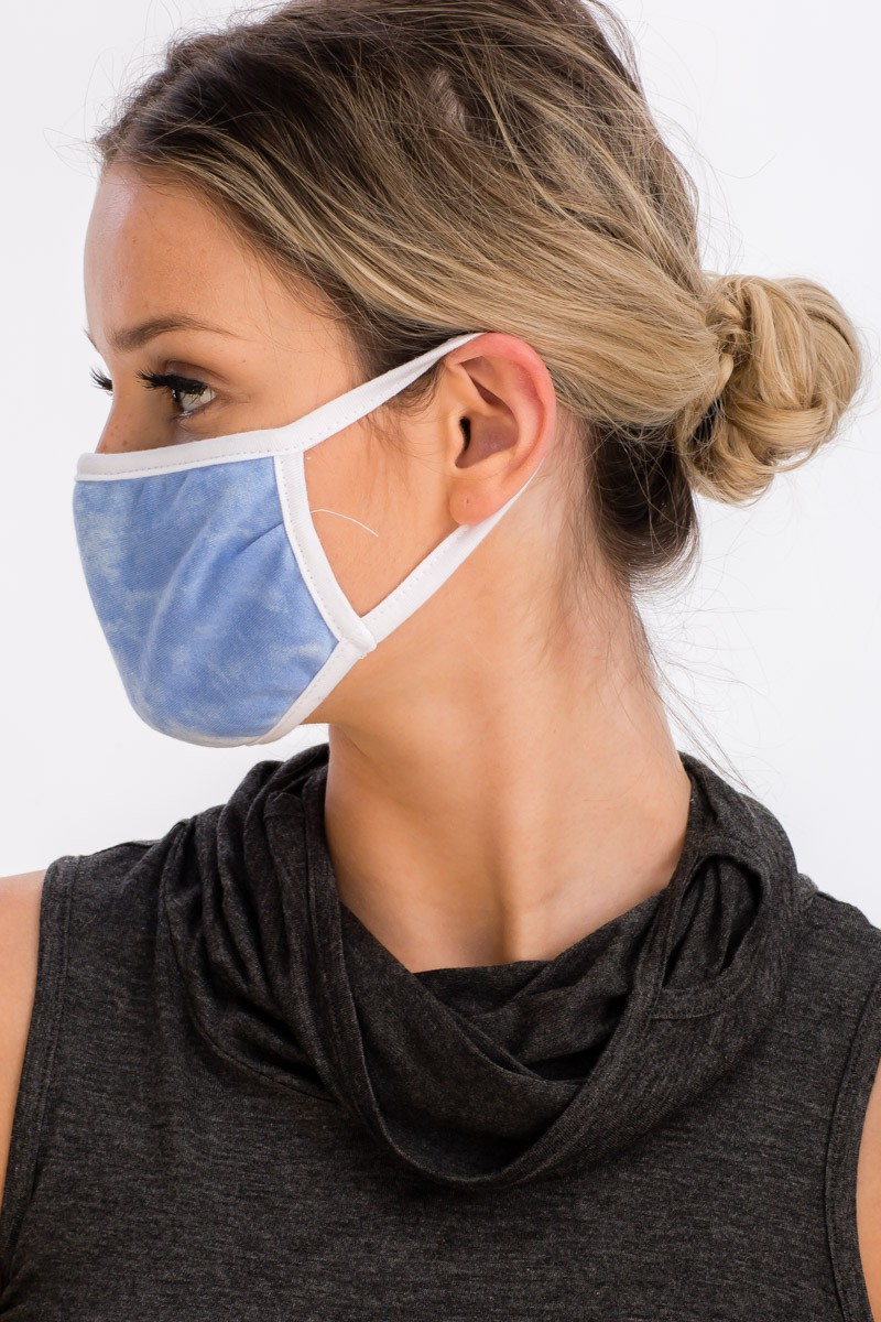 Sky Tie Dye Fashion Face Mask -Blue - Front