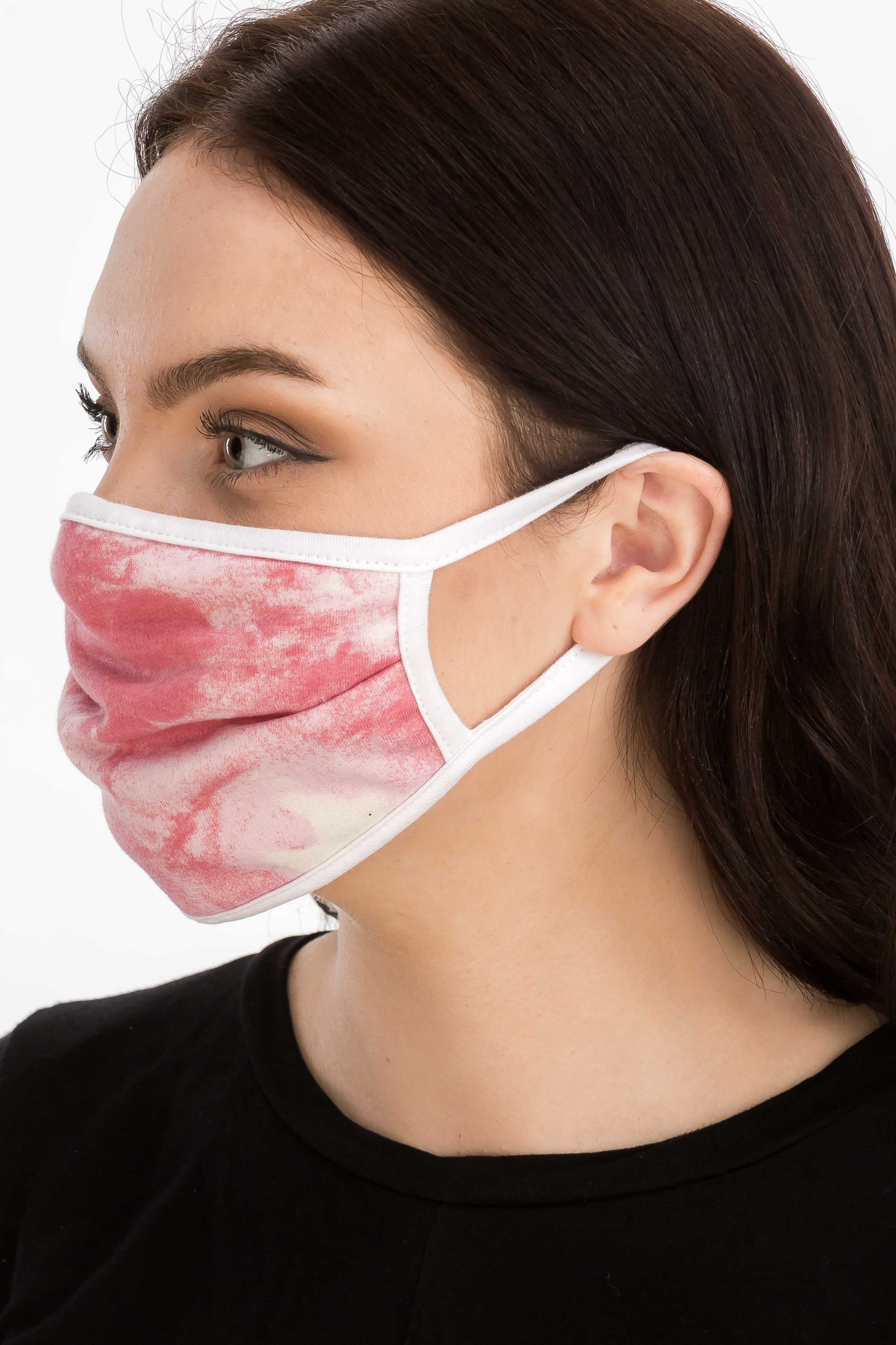 Sky Tie Dye Fashion Face Mask -Red - Front