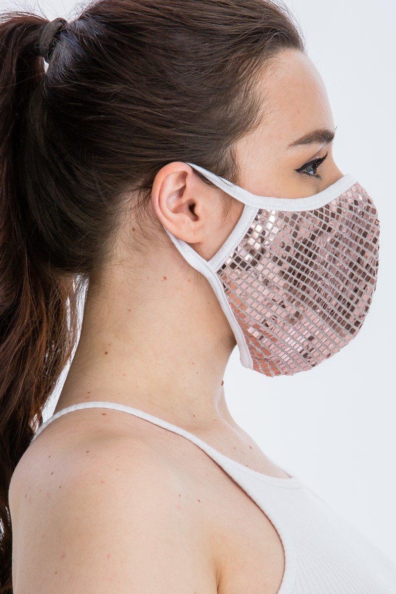Disco Sequin Tile Fashion Face Mask -Light Pink - Front