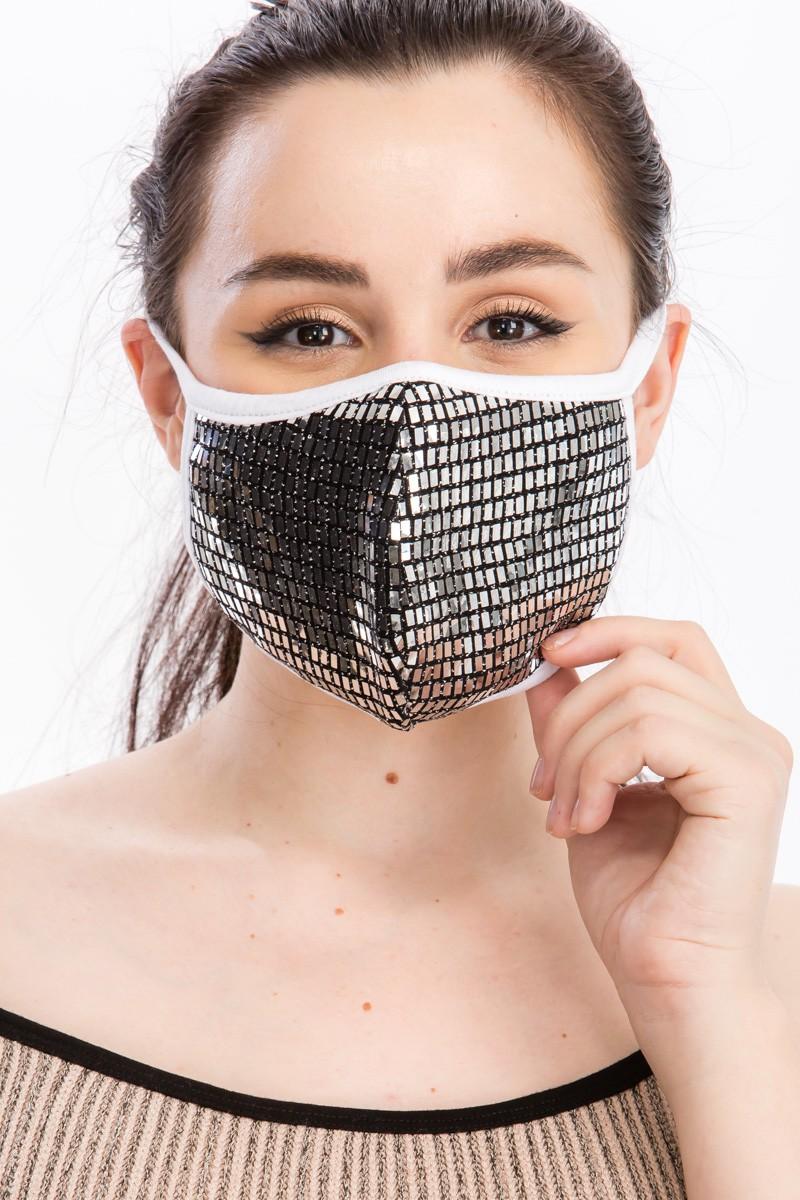 Fancy Sequin Tile Fashion Face Mask -Silver - Front