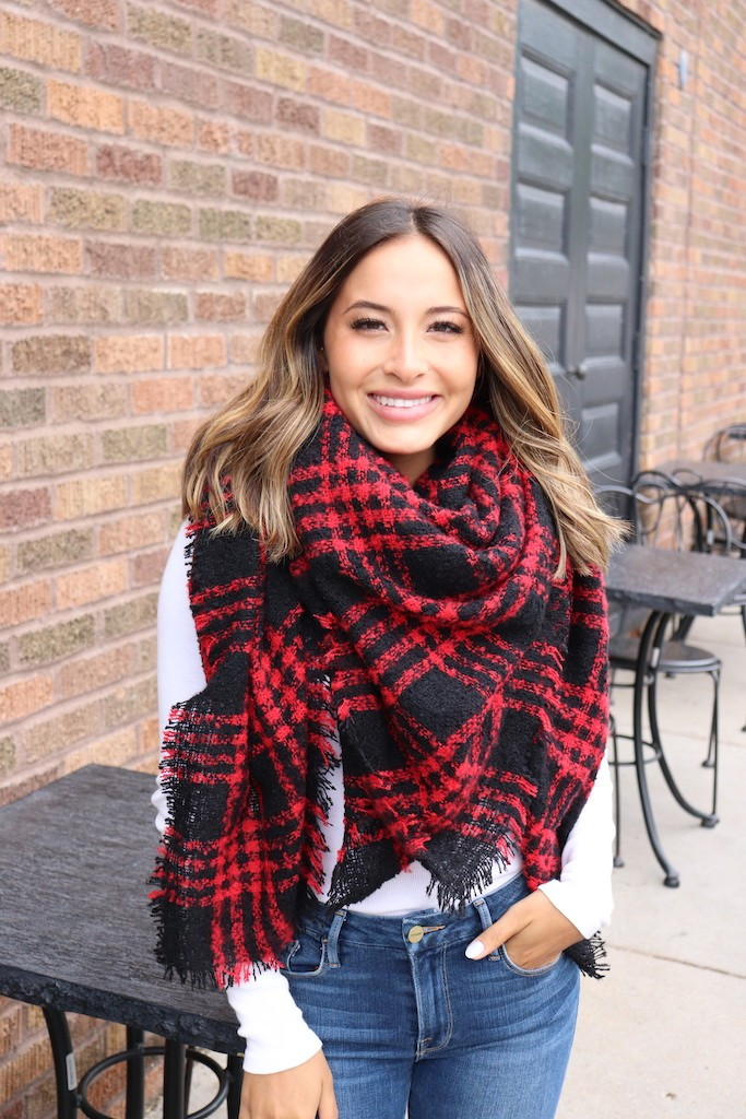 Black & Red Blanket Scarf -Red - Front
