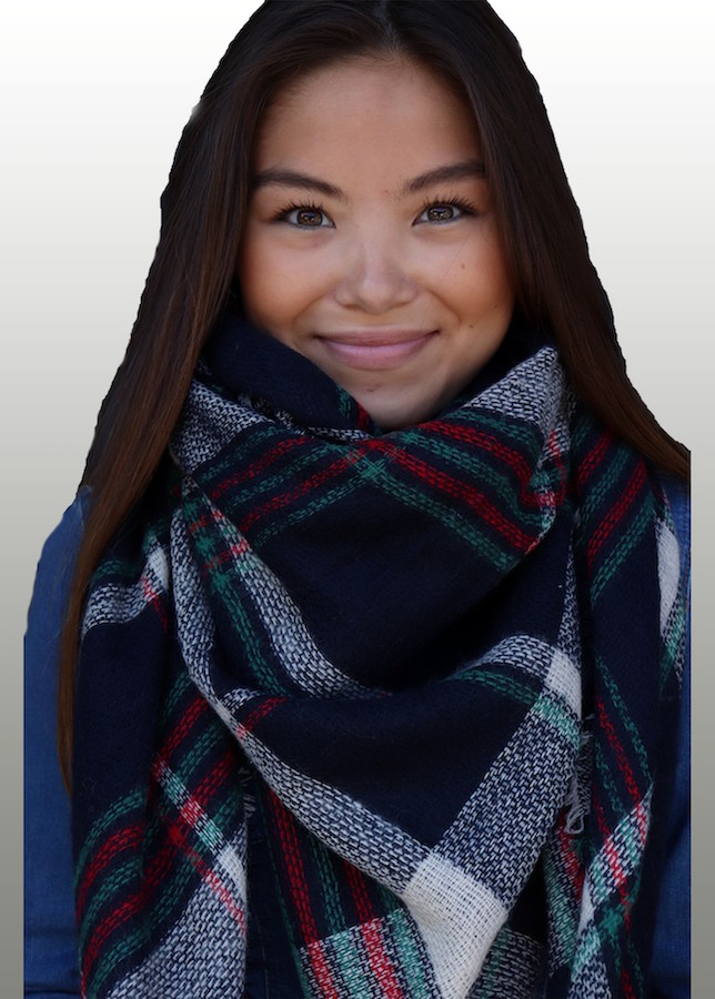 Striped Navy Blanket Scarf -Navy - Front
