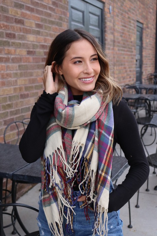 Classic and Youthful Plaid Scarf -Tan - Front