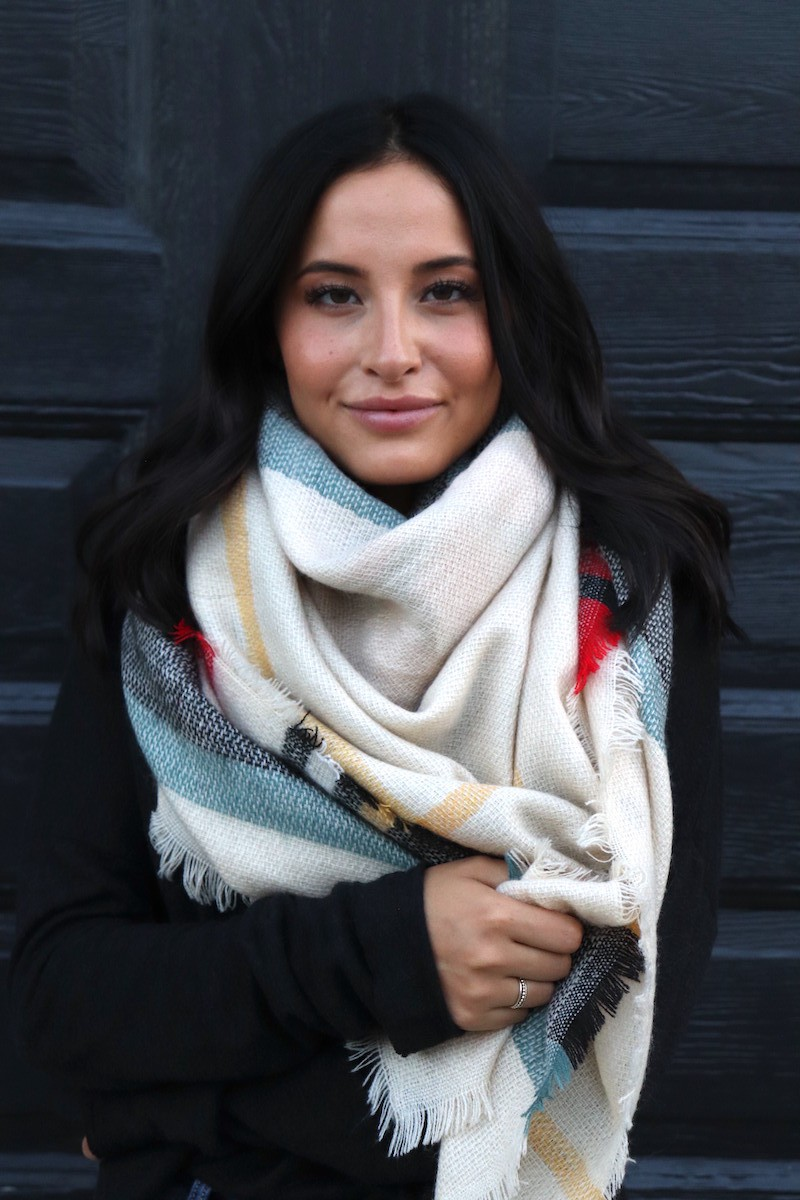 Warm Colors Blanket Scarf -Cream - Front