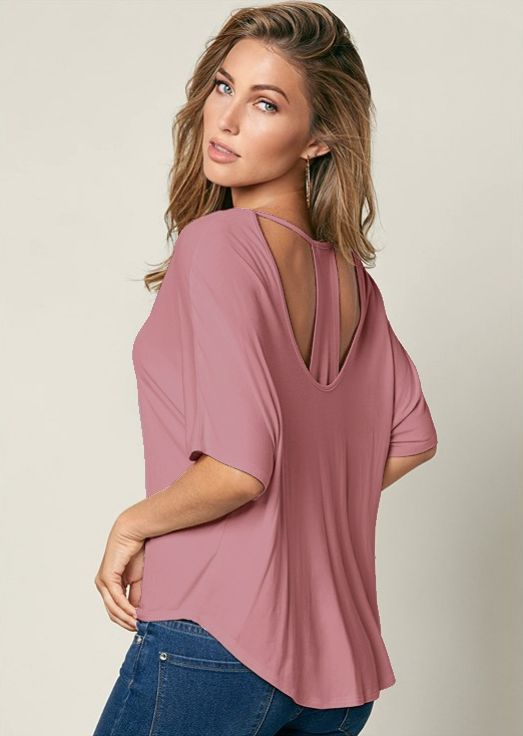 Y- Back Flowy Shirt -Withered Rose - Front