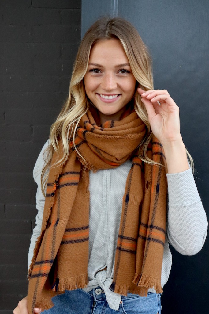 Rust Neck Scarf with Orange and Black Accents - Orange - Front