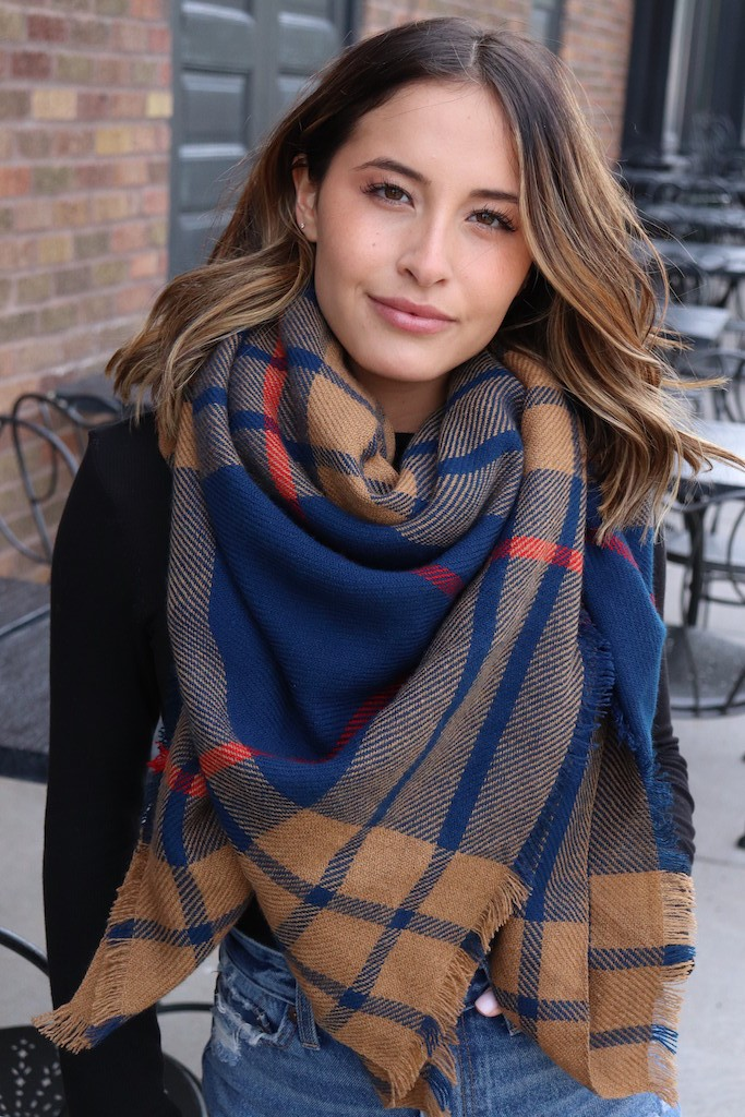Striped Blanket Scarf -Navy - Front