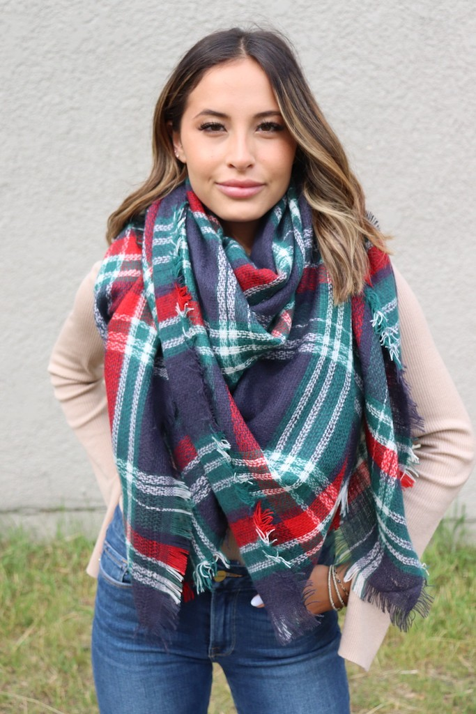 Blanket Scarf -Navy - Front