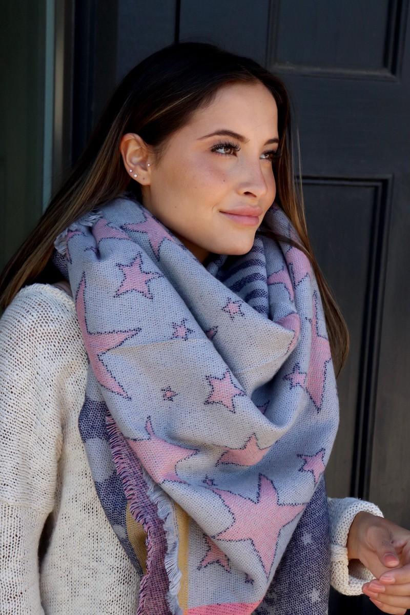 Star-Pattern Blanket Scarf -Grey - Front