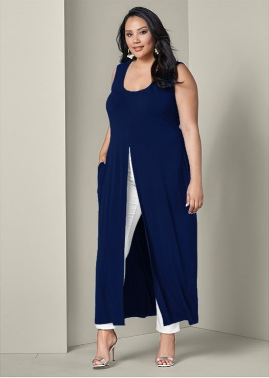 Front Slit Long Tank with Pockets - Plus -Navy - Front
