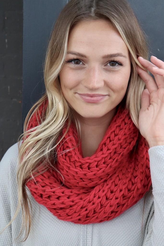 Red Knit Infinity Scarf -Red - Front