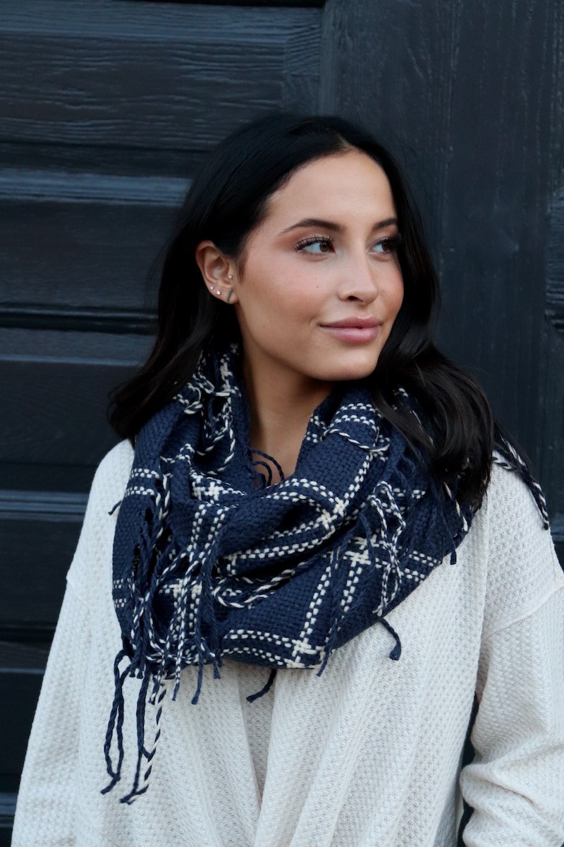 Timeless, Classic Navy Infinity Scarf - Navy - Front
