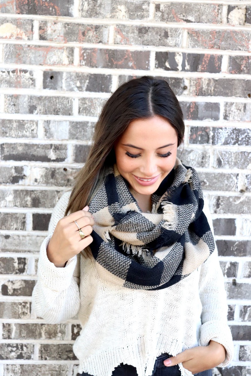 Retro-Chic Checkered Infinity Scarf -Black - Front
