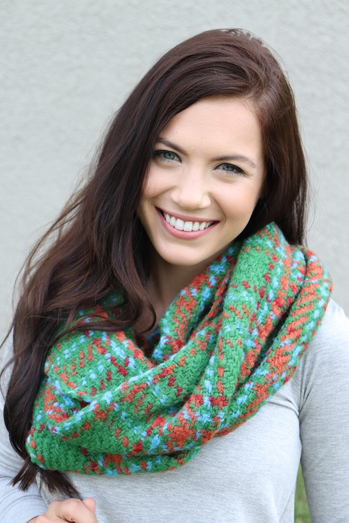 Vibrant Blend of Brights Infinity Scarf -Green - Front