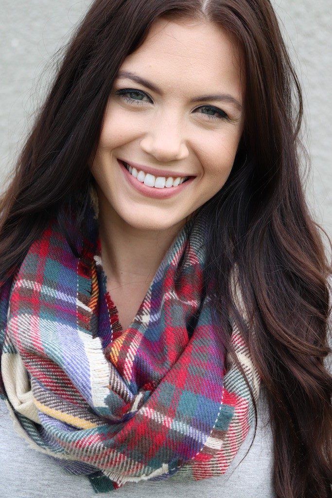Vibrant Blend of Contrasts Infinity Scarf -Red - Front
