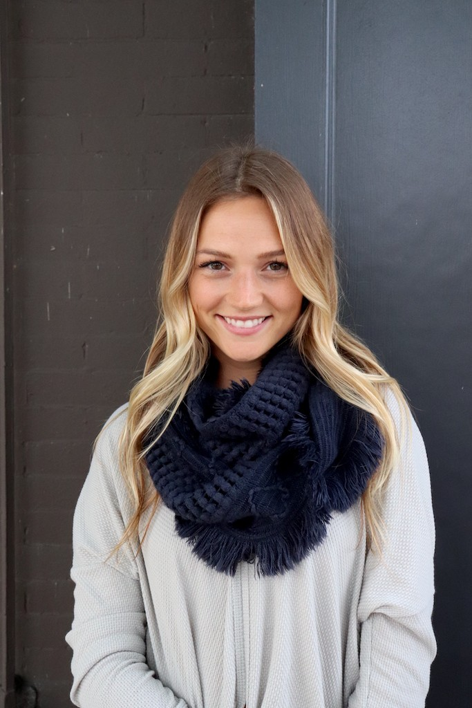 Texture-Knit Navy Infinity Scarf - Navy - Front