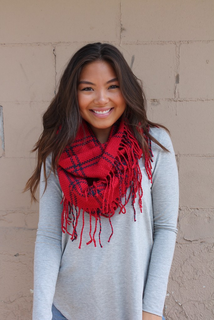 Vibrant Infinity Neck Scarf -Red - Front