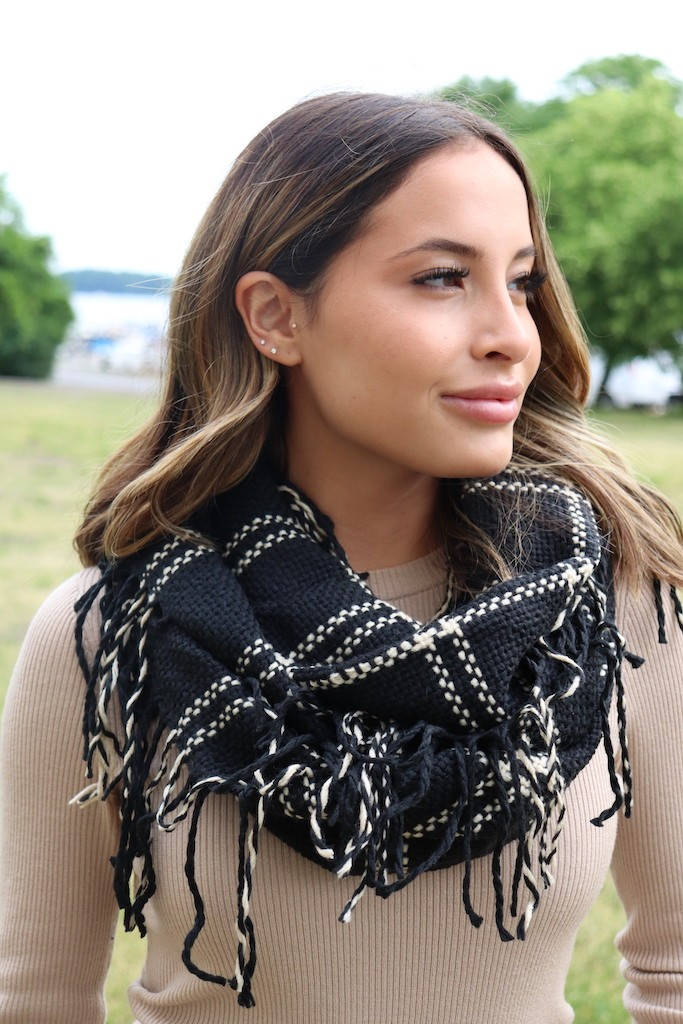 Timeless, Classic Black Infinity Scarf -Black - Front