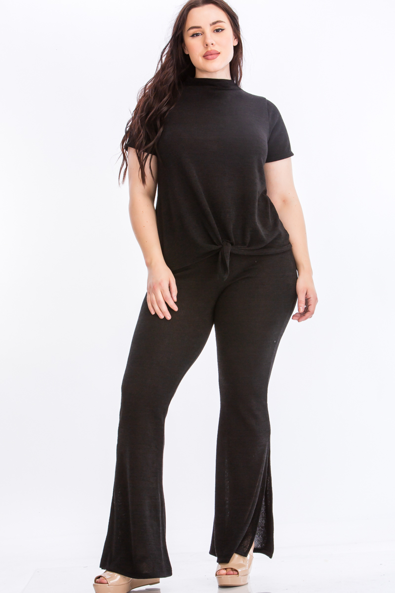 Tie Top And Split Bell Pant Lounge Set -Black - Front