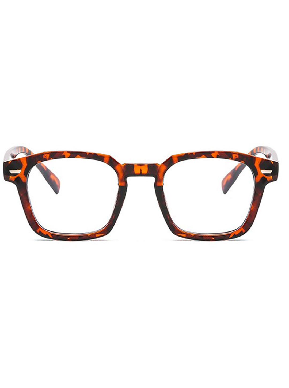 Classic Square Blue Light Blocker Glasses -Tortoise - Front