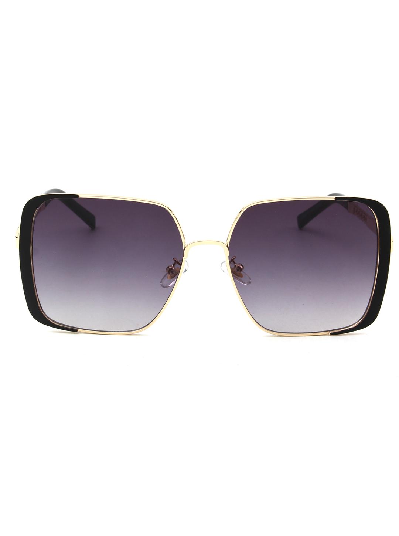Trendy Round Sunglasses - Black - Front