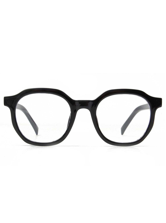 Classic Round Blue Light Blocker Glasses -Black - Front
