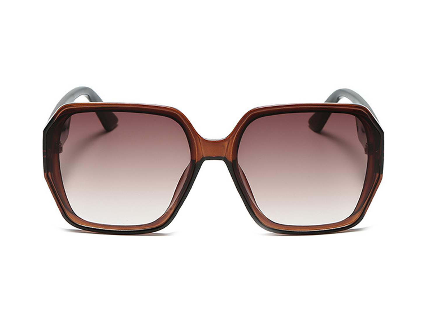 Brown Oversized Square Sunglasses -Brown - Front