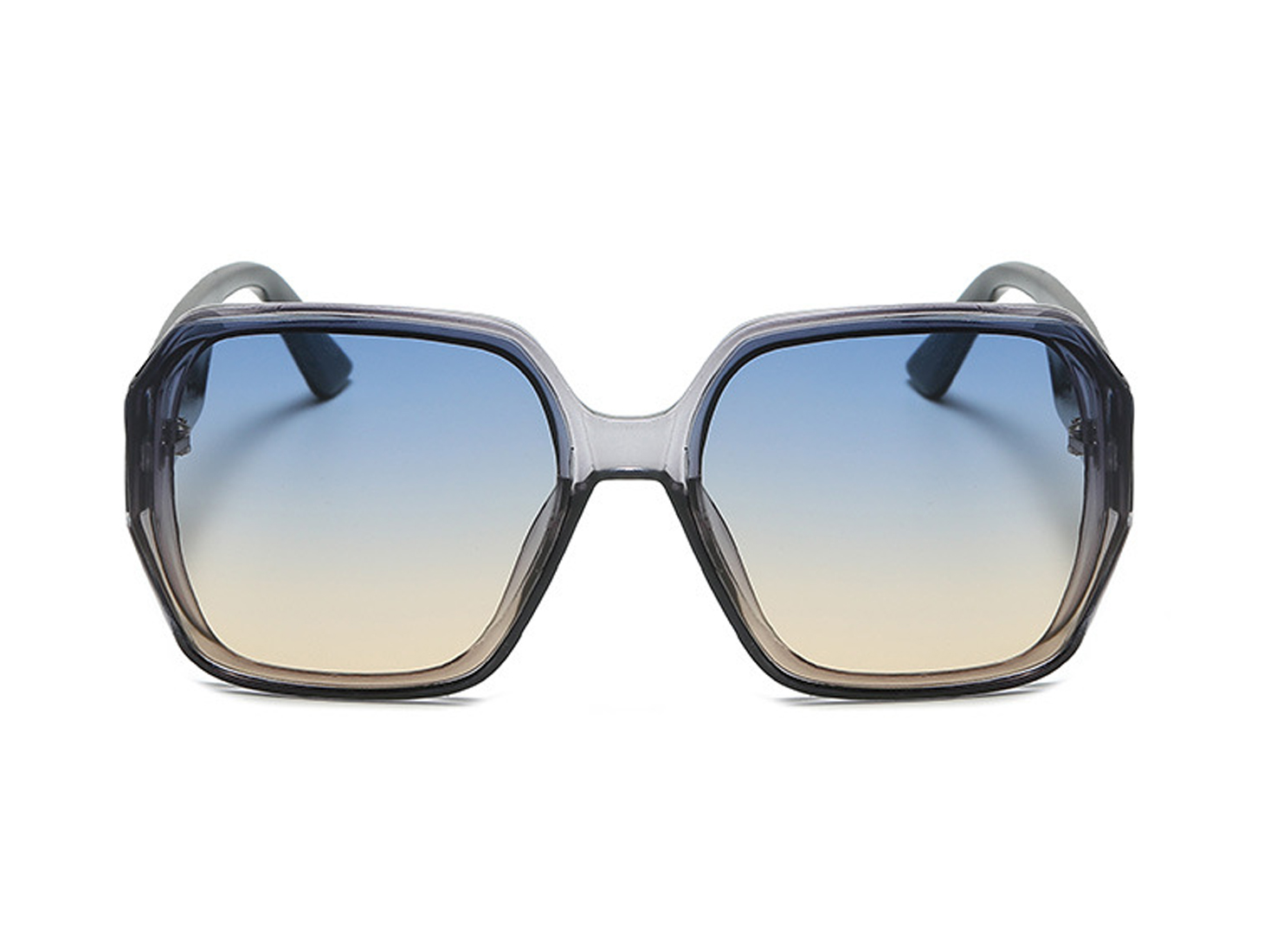 Yellowish Oversized Square Sunglasses - Blue gradient to yellow - Front
