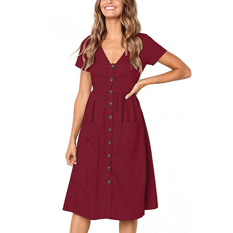 Buttoned V-Neck Dress With Pockets -Maroon - Front