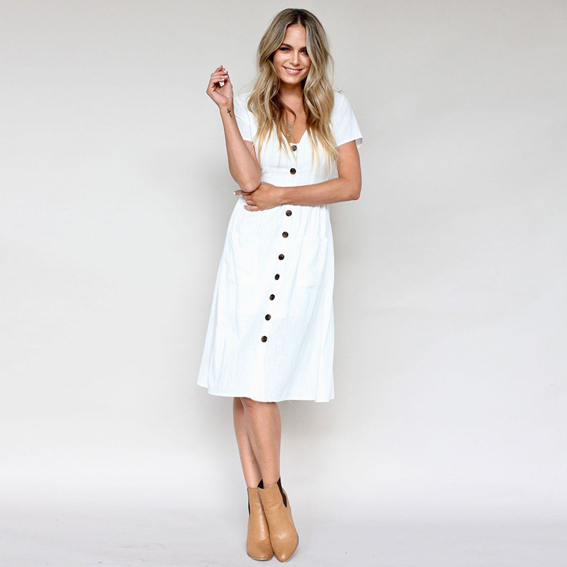 Buttoned V-Neck Dress With Pockets -White - Front