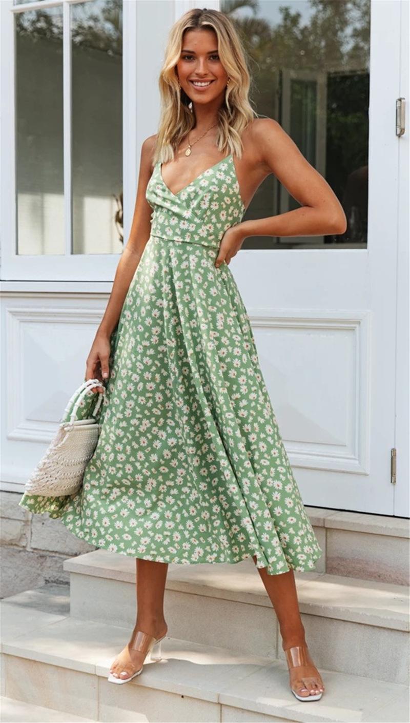 Spaghetti Strap Slip-on Dress - Misses -Green - Front