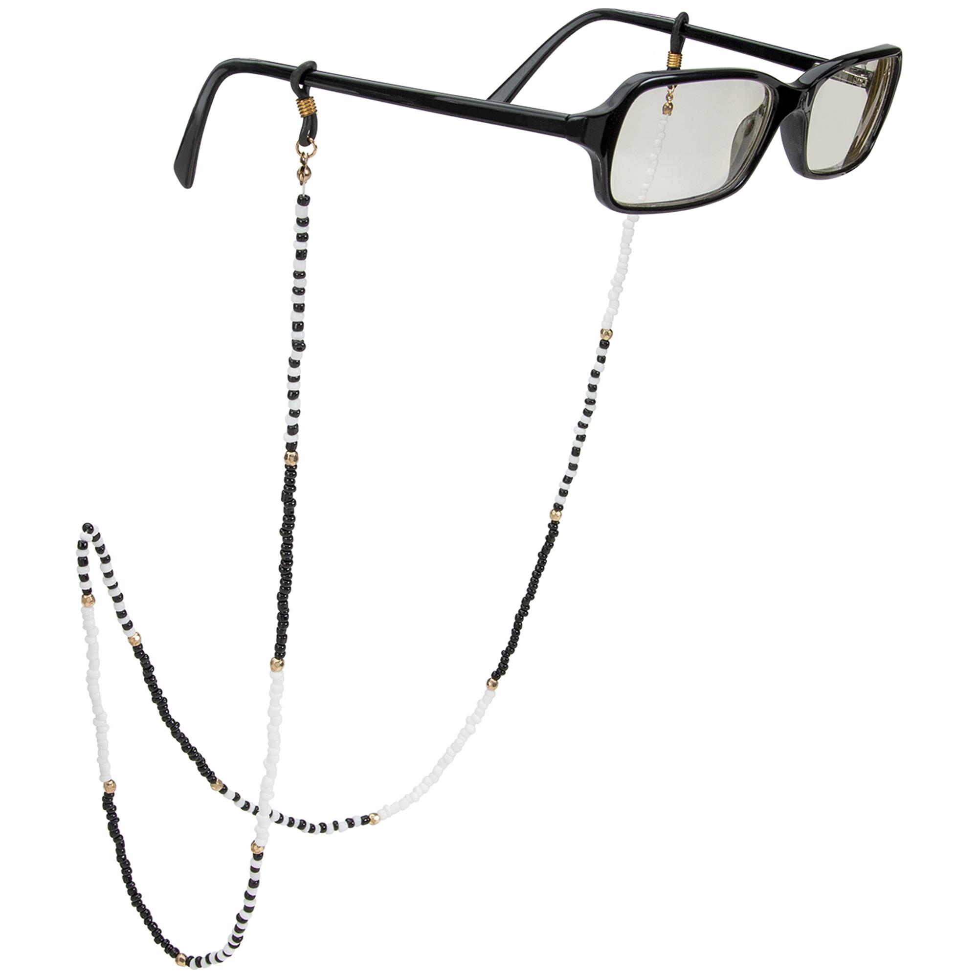 Black and White Beaded Eyeglass/Sunglass Retainer -Black/White - Front