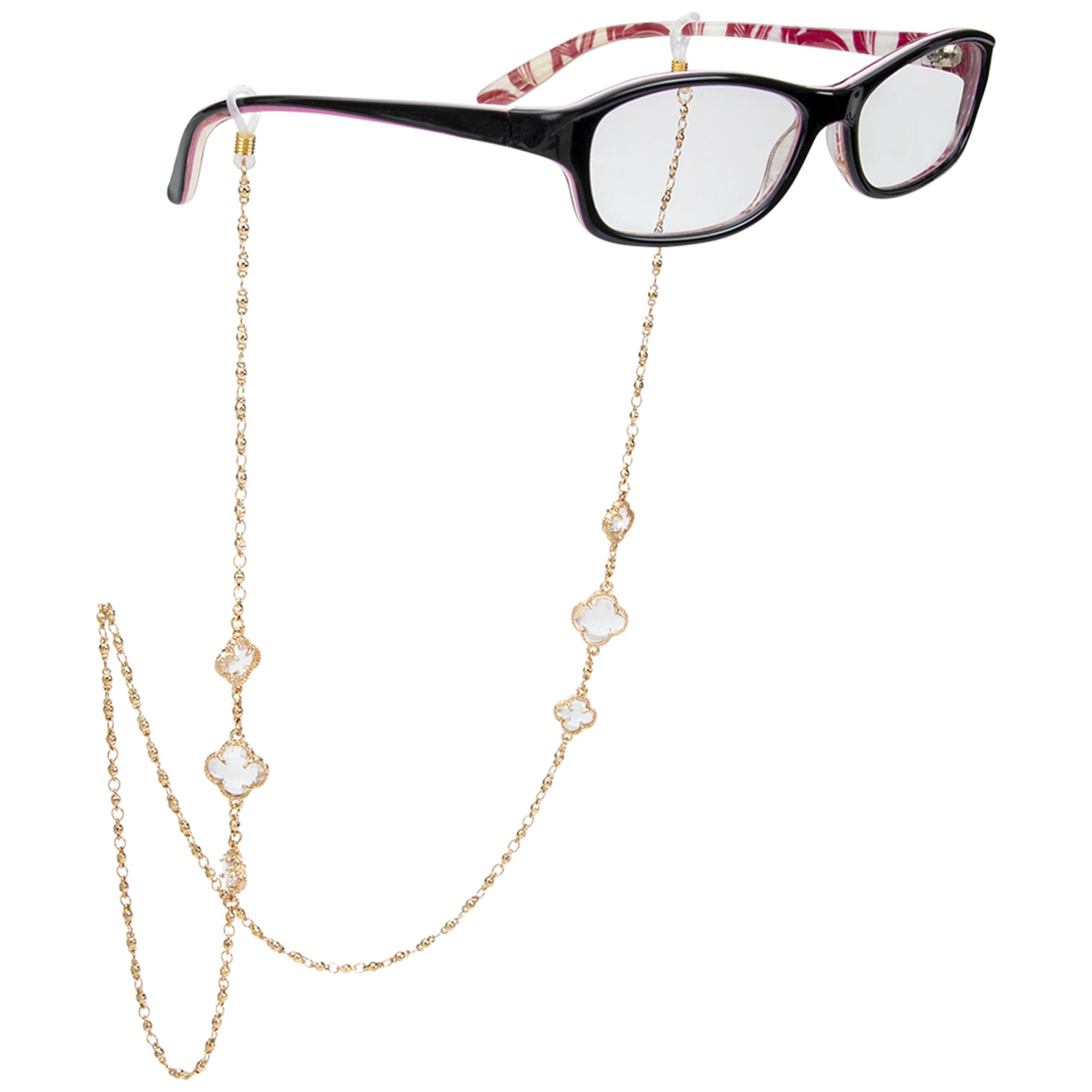 Fancy Gold Boho Clover Eyeglass/Sunglass Retainer - Gold - Front