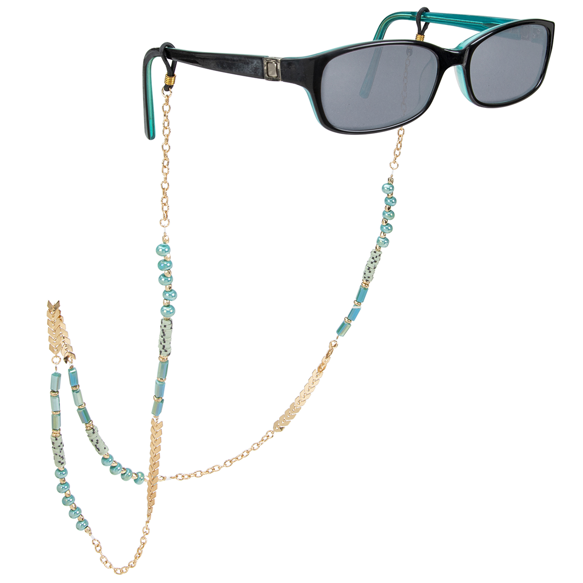 Turquoise and Gold Boho Chain Eyeglass/Sunglass Retainer - Turquoise - Front