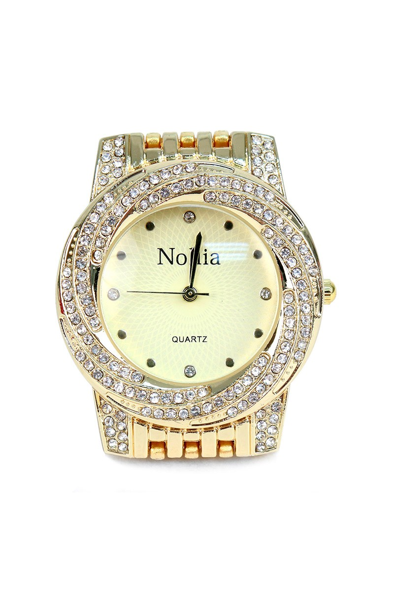 Gold-Tone Femme Watch with a Swirl of Gems -Gold - Front