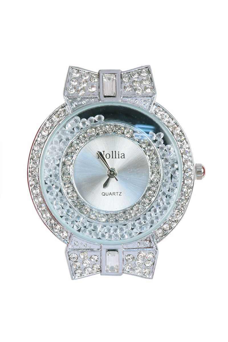 Ultra Feminine Silver-Tone Watch with Bows & Gems -Silver - Front