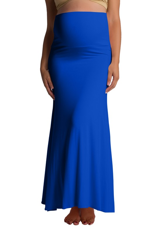 Ultra-Soft Maternity Fold-Over Skirt - Royal Blue - Front