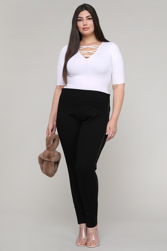 Plus-Size Tuxedo Premium Ponte Pants - Plus -Black - Front