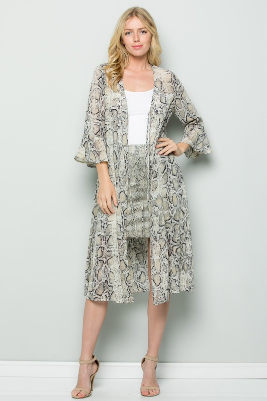 Snake Print Ruffle Sleeve Kimono - Taupe - Front