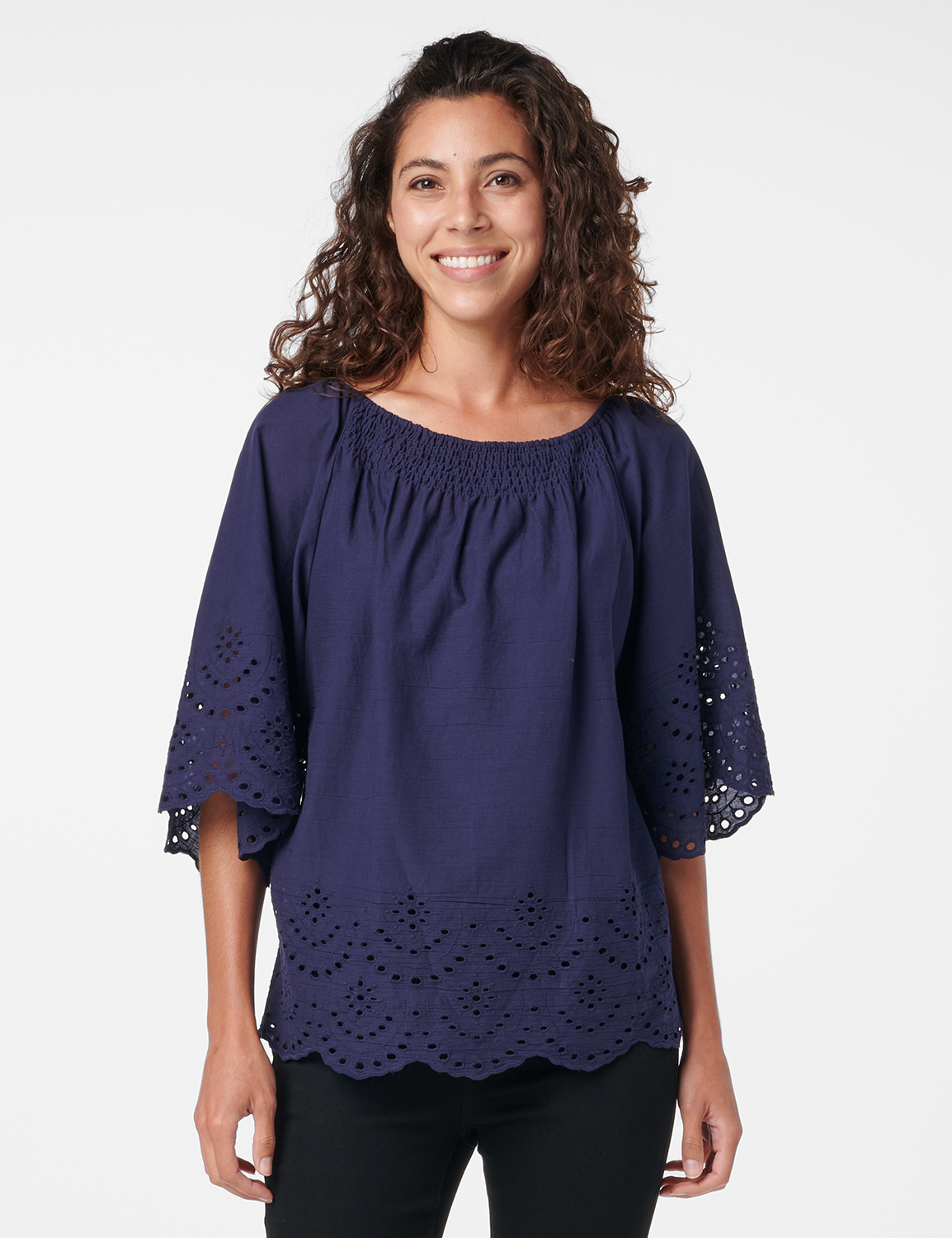 Embroidered Off The Shoulder Woven Top -Navy - Front