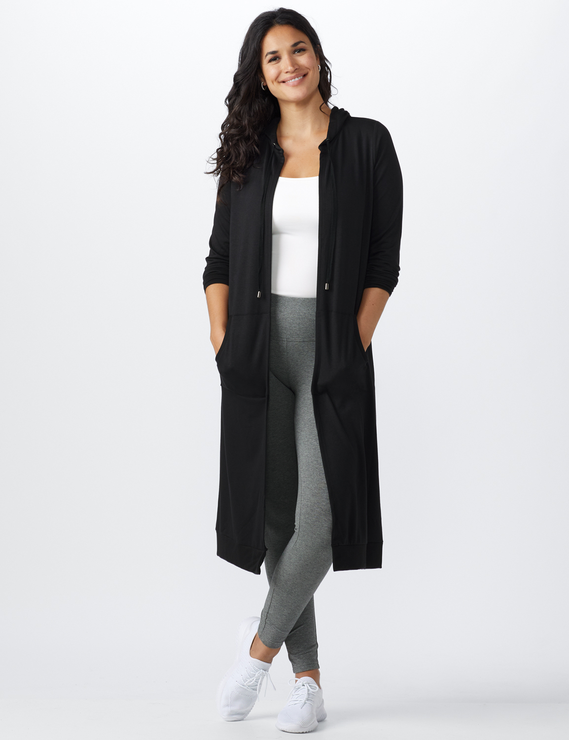 French Terry Duster Hoodie - Misses -Black - Front