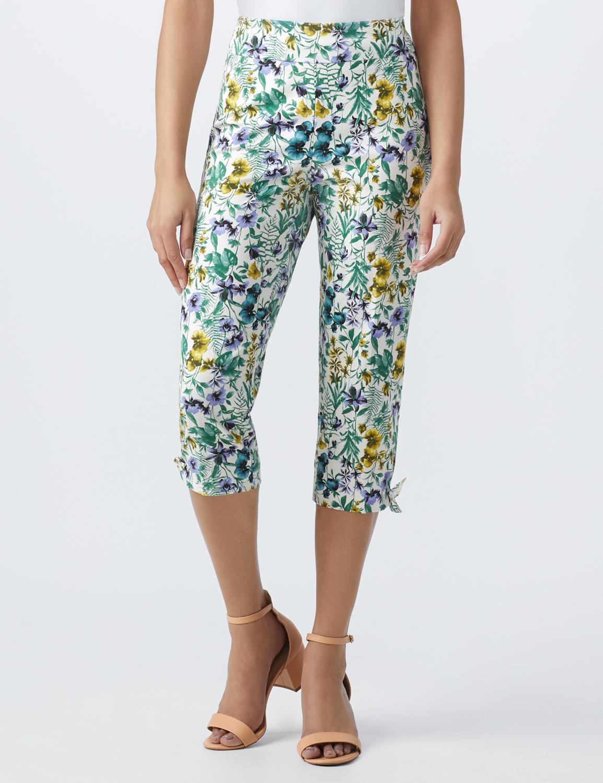Printed Pull on Pants Tie Hem Capri -Purple combo - Front