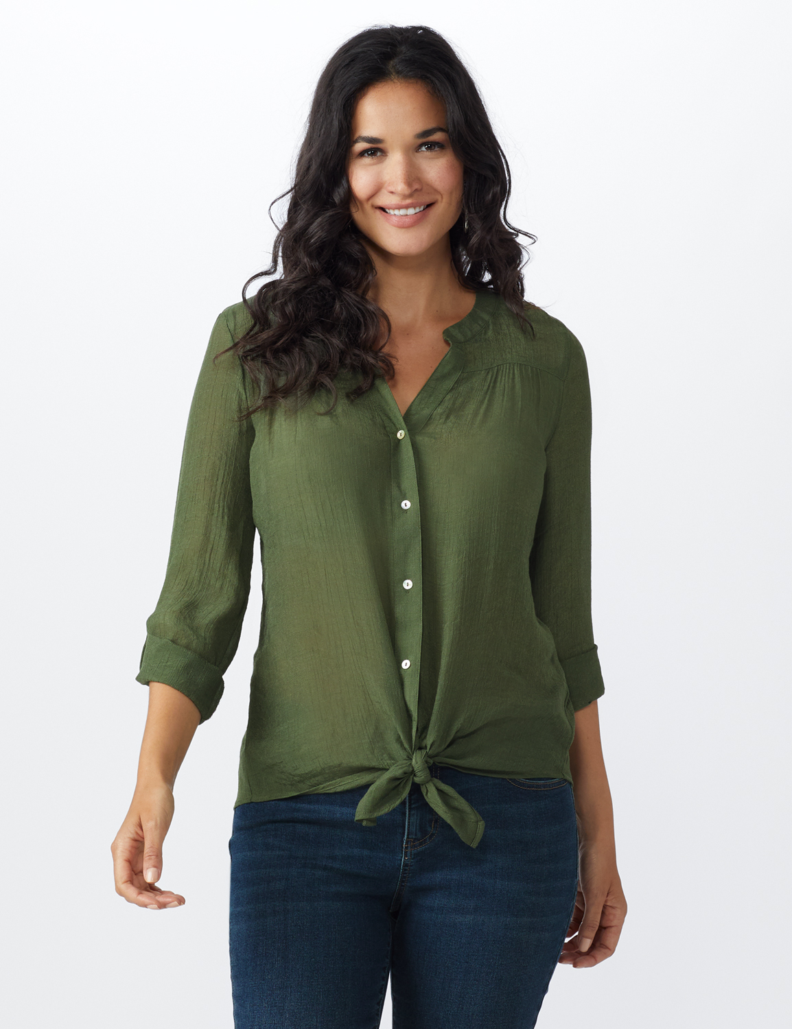 Textured Button Front Roll Tab Shirt - Misses -Army Olive - Front